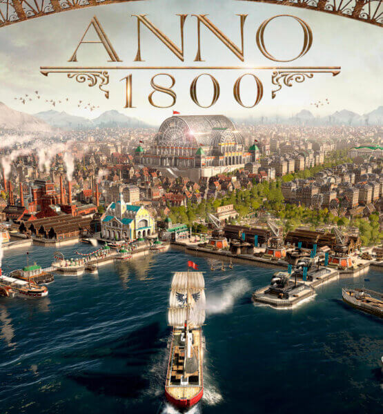 Coverart von Anno 1800, bei dem ein SChiff in den Hafen einer großen Metropole im Jahr 1800 einläuft.