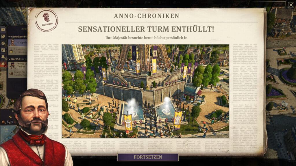 Ein Zeitungsartikel im Spiel berichtet über die Eröffnung des selbst erbauten Eiffelturms.