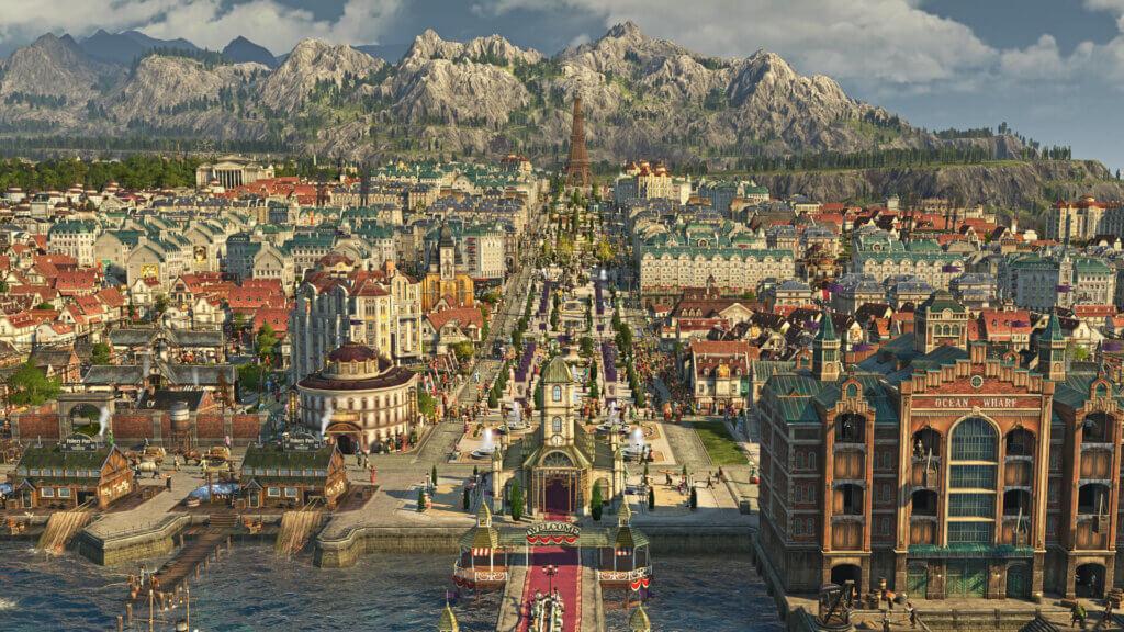 eine große Metropole in Anno 1800. In der Ferne sieht man den Eiffelturm, in der rechten Ecke die Speicherstadt neben dem Besucherkai.