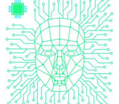 Bild einer Gesichtserkennungssoftware, grüne Linien verzweigen sich nach außen, in der Mitte bilden sie eine Gesichtsstuktur