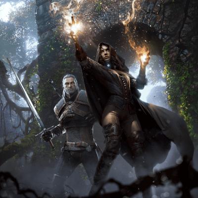 Geralt und Yennefer in Kampfpose, mit gezogenem schwert und erhobenen Händen im Wald in einer Ruine, in Anime stil gemaltes Bild