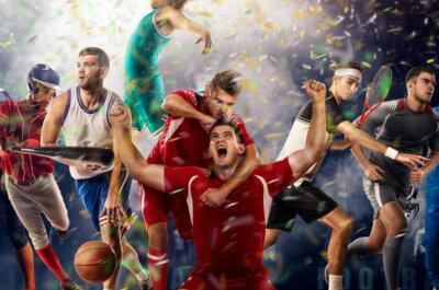 Sportler aus verschiedensten Sportarten, die entweder Jubeln oder Aktionen ihres Sports ausführen, während Konfitte auf sie herab regnet.