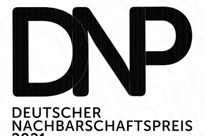 Deutscher Nachbarschaftspreis 2021 Logo Schwarz auf weißem Hintergrund