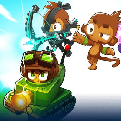 Bloons TD6 Bild in Comicstil, 3 Affen zu sehen, einer in einem Panzer, der andere über ihm mit einem Hightech Bogen, der andere rechts mit einem Dartpfeil