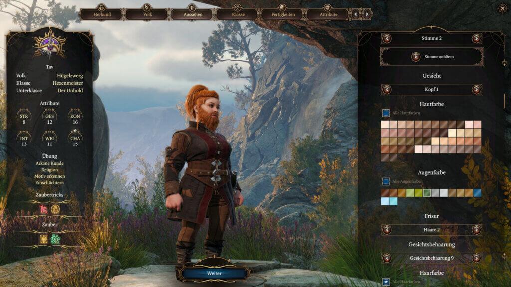 Charaktererstellung in Baldur's Gate 3, die eine bärtige Zwergin zeigt.