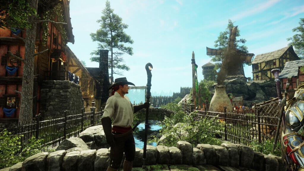 Der eigene Charakter von der Seite auf einer Brücke in einem Dorf in New World.
