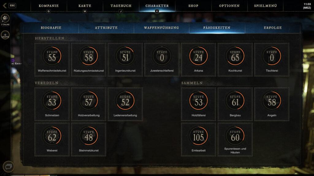 Der Fähigkeitenreiter zeigt 12 Sammel- und Craftingfähigkeiten.
